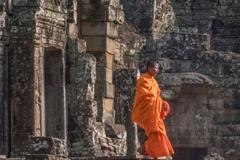 Monk at Bayon Temple, Anghor Wat