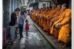 Burmese Monks Asking for Rice