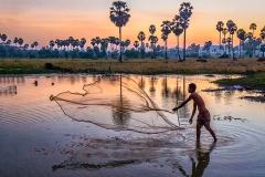 Casting Net at Dusk-Cambodia