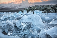 Glacial Ice on the Beach at Sunset
