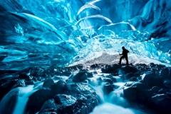 Waterfall-Ice-Cave-Hiker